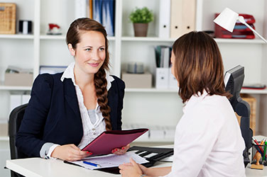 Two young women in job interview